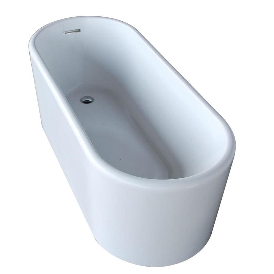 ANZZI Century Series Glossy White Acrylic Oval Bathtub Bathtub with Reversible Drain (Common: 28-in x 67-in; Actual: 23.25-in x 27.5-in x 66.8-in)