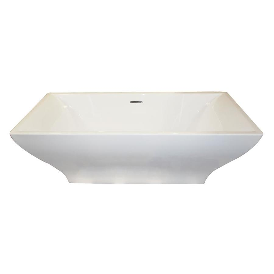 ANZZI Vision Series 70.4-in White Acrylic Freestanding Bathtub with Center Drain