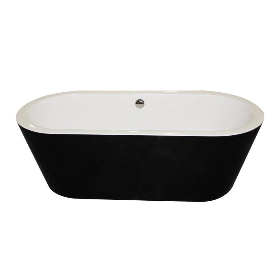 ANZZI Dualita Series 63-in Glossy Black and White Acrylic Freestanding Bathtub with Center Drain