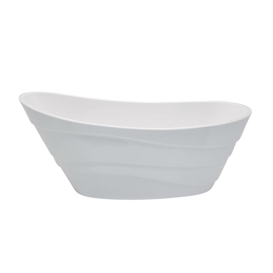 ANZZI Stratus Series 67-in Glossy White Acrylic Freestanding Bathtub with Reversible Drain