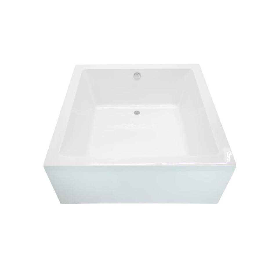 ANZZI Apollo Series 55-in Glossy White Acrylic Freestanding Bathtub with Reversible Drain