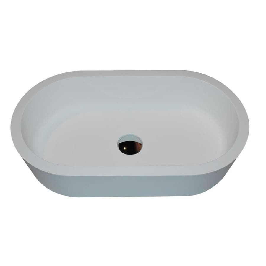 ANZZI Vaine Matte White Stone Oval Vessel Bathroom Sink