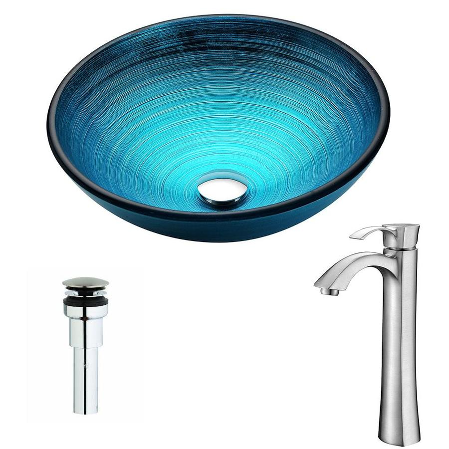 ANZZI Enti Series Lustrous Blue Tempered Glass Round Vessel Bathroom Sink Faucet Included (Drain Included)