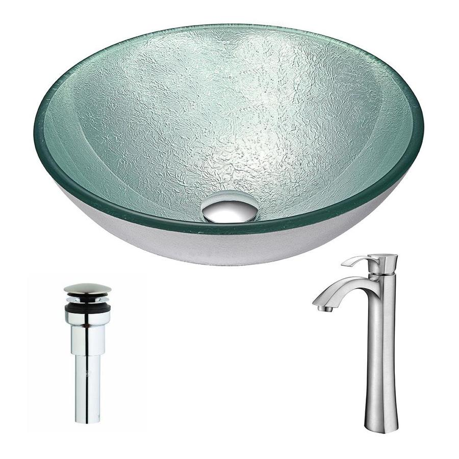ANZZI Spirito Series Churning Silver Tempered Glass Round Vessel Bathroom Sink with Faucet (Drain Included)