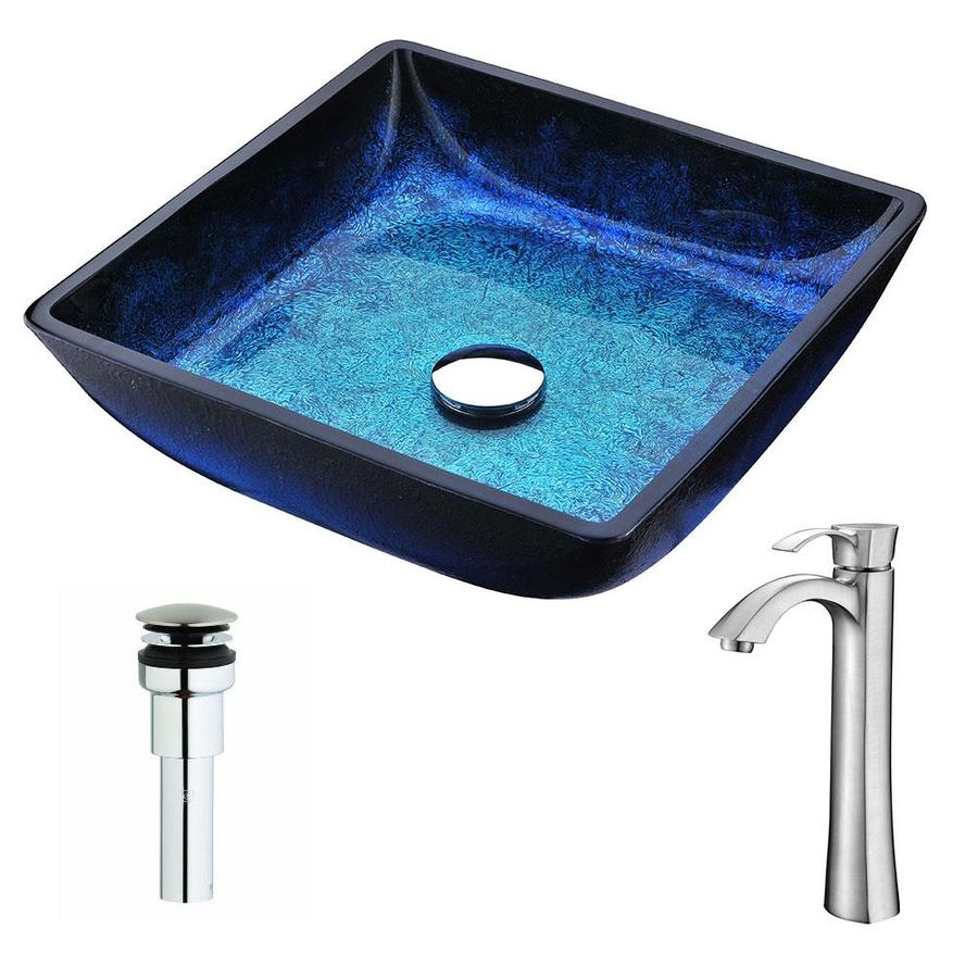 ANZZI Viace Series Blazing Blue Tempered Glass Square Vessel Bathroom Sink Faucet Included (Drain Included)
