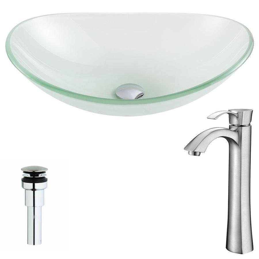 Shop Anzzi Forza Series Frosted Tempered Glass Oval Vessel Bathroom Sink Faucet Included Drain