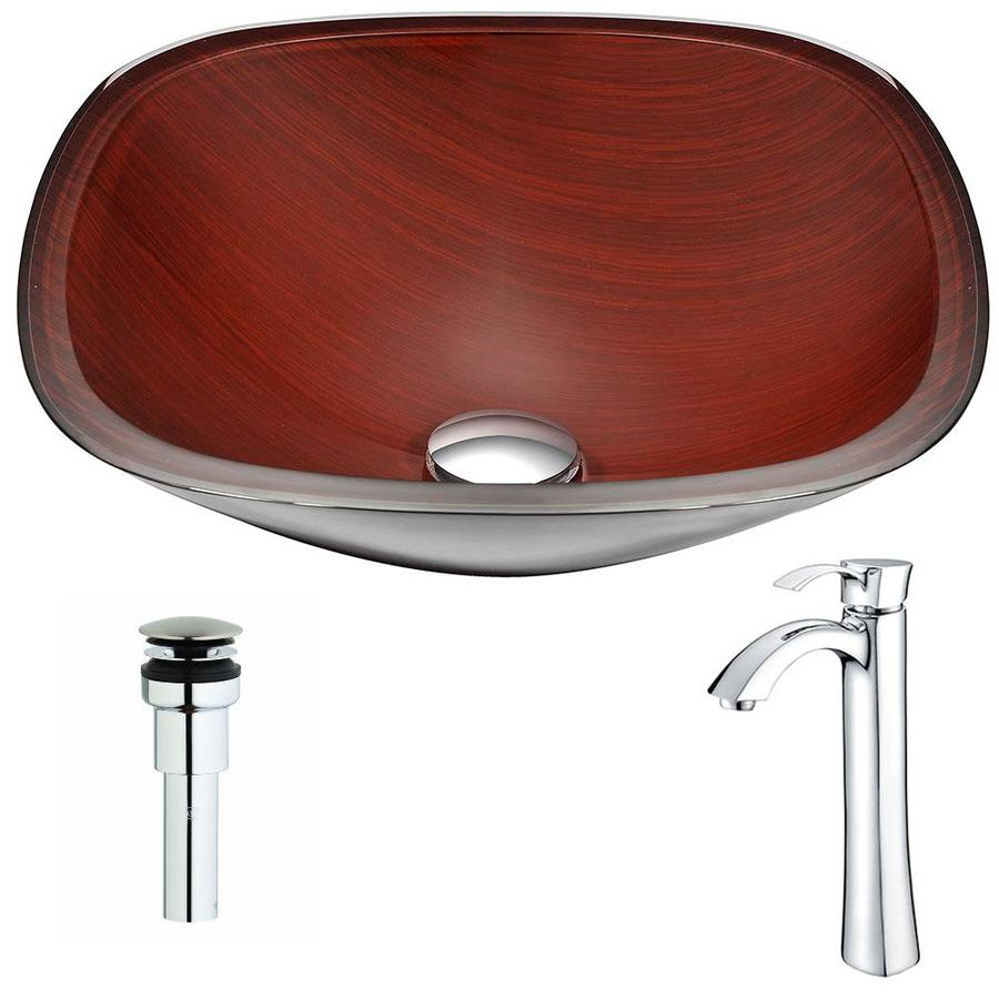 ANZZI Cansa Series Rich Timber Tempered Glass Square Vessel Bathroom Sink with Faucet (Drain Included)