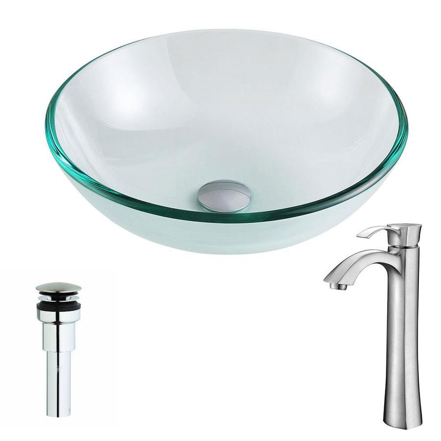 Shop ANZZI Etude Series Clear Tempered Glass Round Vessel Bathroom ...
