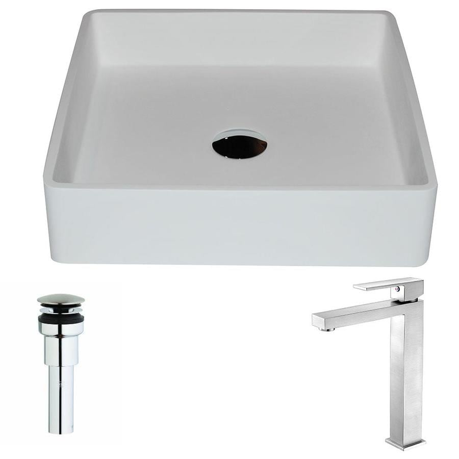ANZZI Passage Matte White Stone Square Vessel Bathroom Sink with Faucet (Drain Included)