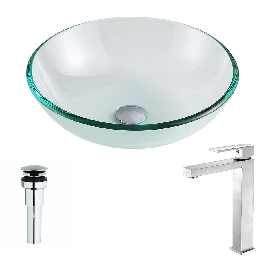 ANZZI Etude Series Clear Tempered Glass Round Vessel Bathroom Sink with Faucet (Drain Included)