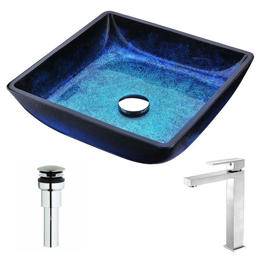Shop ANZZI Viace Series Blazing Blue Tempered Glass Square Vessel ...
