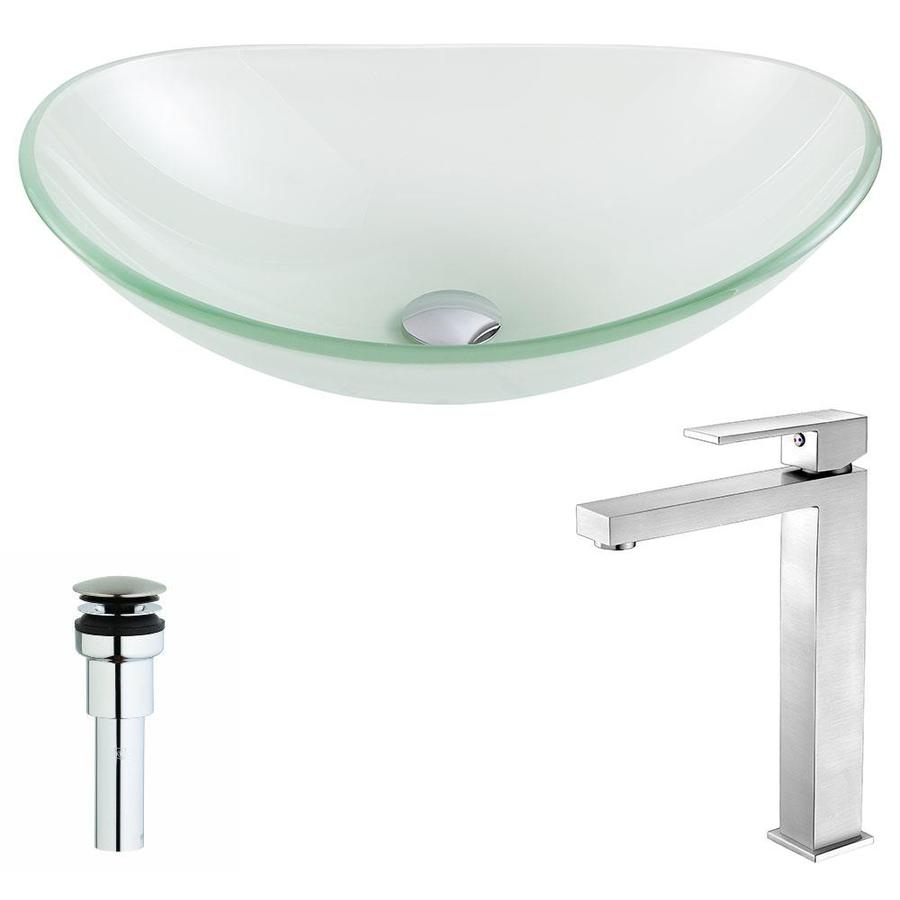 ANZZI Forza Series Frosted Tempered Glass Oval Vessel Bathroom Sink with Faucet (Drain Included)