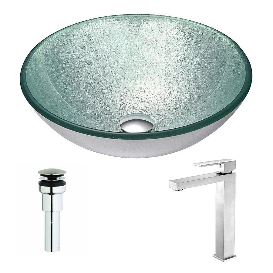 ANZZI Spirito Series Churning Silver Tempered Glass Round Vessel Bathroom Sink Faucet Included (Drain Included)