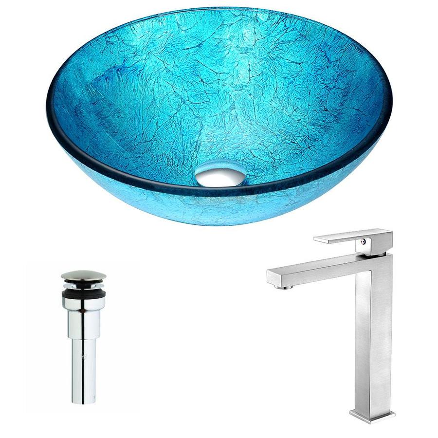 ANZZI Accent Series Ice Tempered Glass Round Vessel Bathroom Sink Faucet Included (Drain Included)
