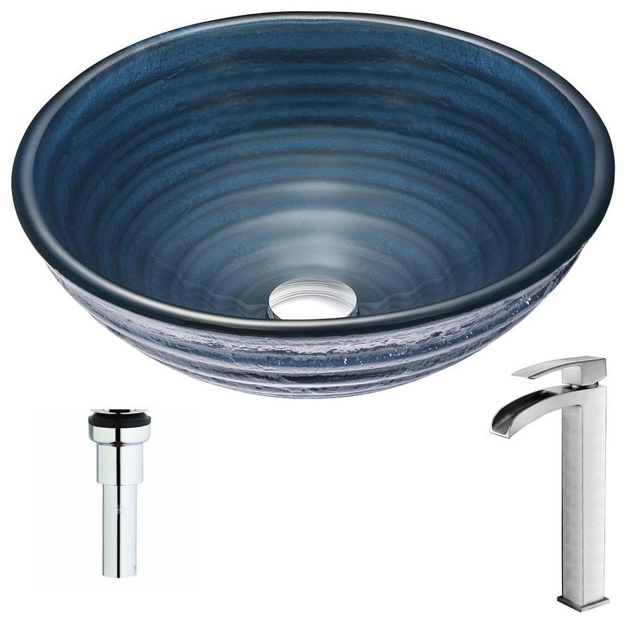 ANZZI Tempo Series Coiled Blue Tempered Glass Round Vessel Bathroom Sink with Faucet (Drain Included)