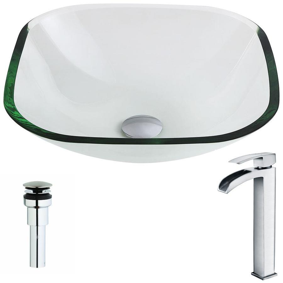ANZZI Cadenza Series Clear Tempered Glass Square Vessel Bathroom Sink with Faucet (Drain Included)