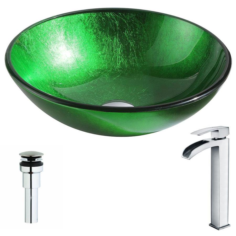 Shop Anzzi Melody Series Lustrous Green Tempered Glass Round Vessel Bathroom Sink With Faucet