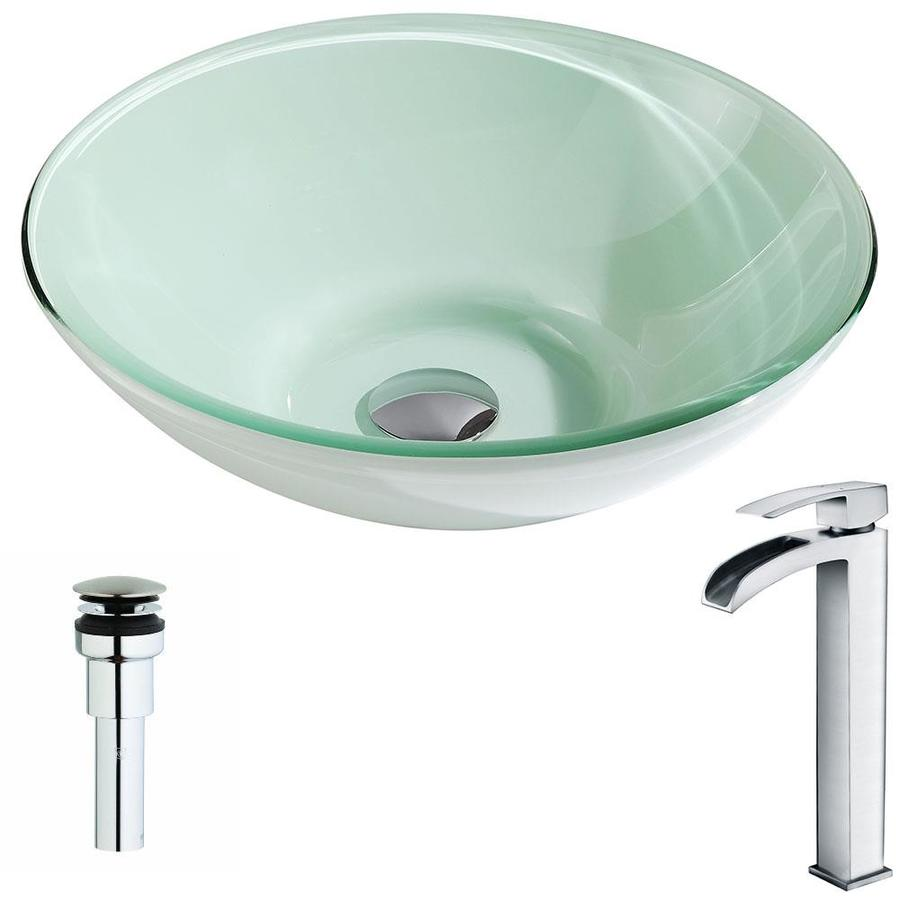 Shop Anzzi Sonata Series Light Green Tempered Glass Round Vessel Bathroom Sink With Faucet