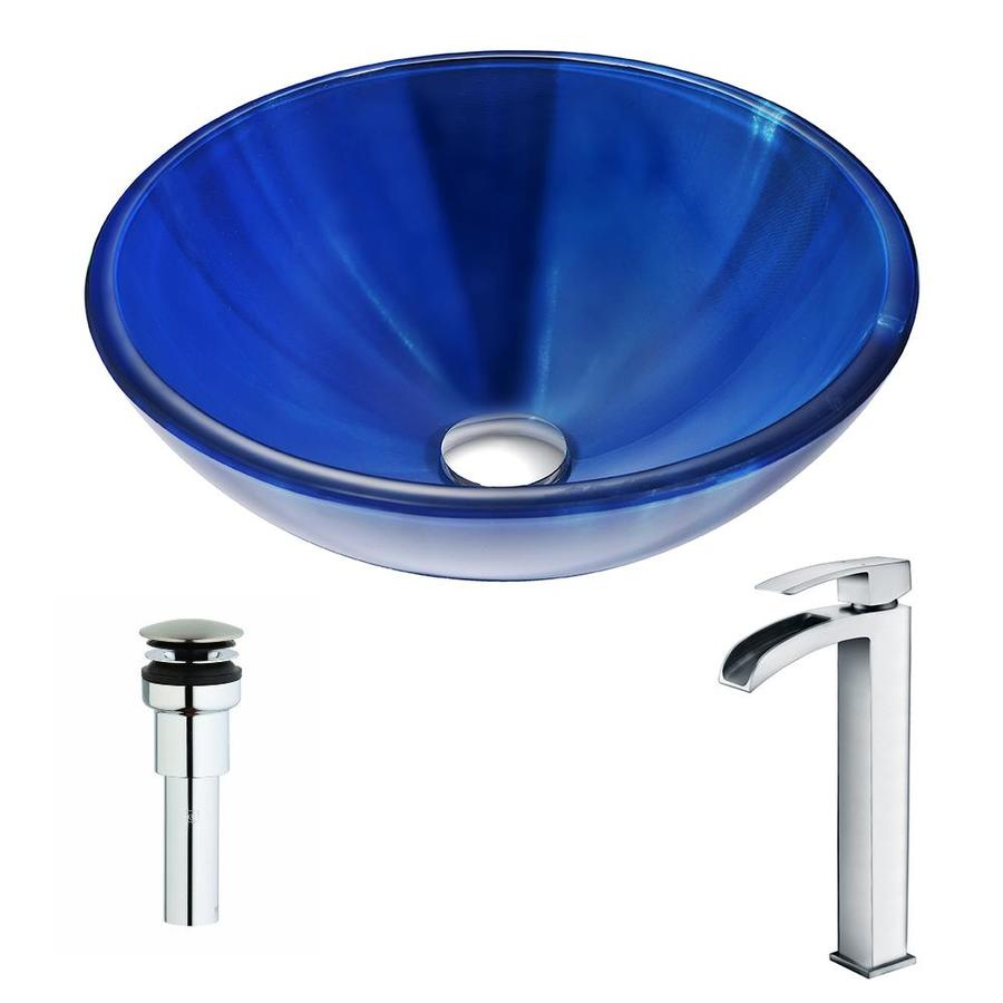 ANZZI Meno Series Lustrous Blue Tempered Glass Round Vessel Bathroom Sink with Faucet (Drain Included)