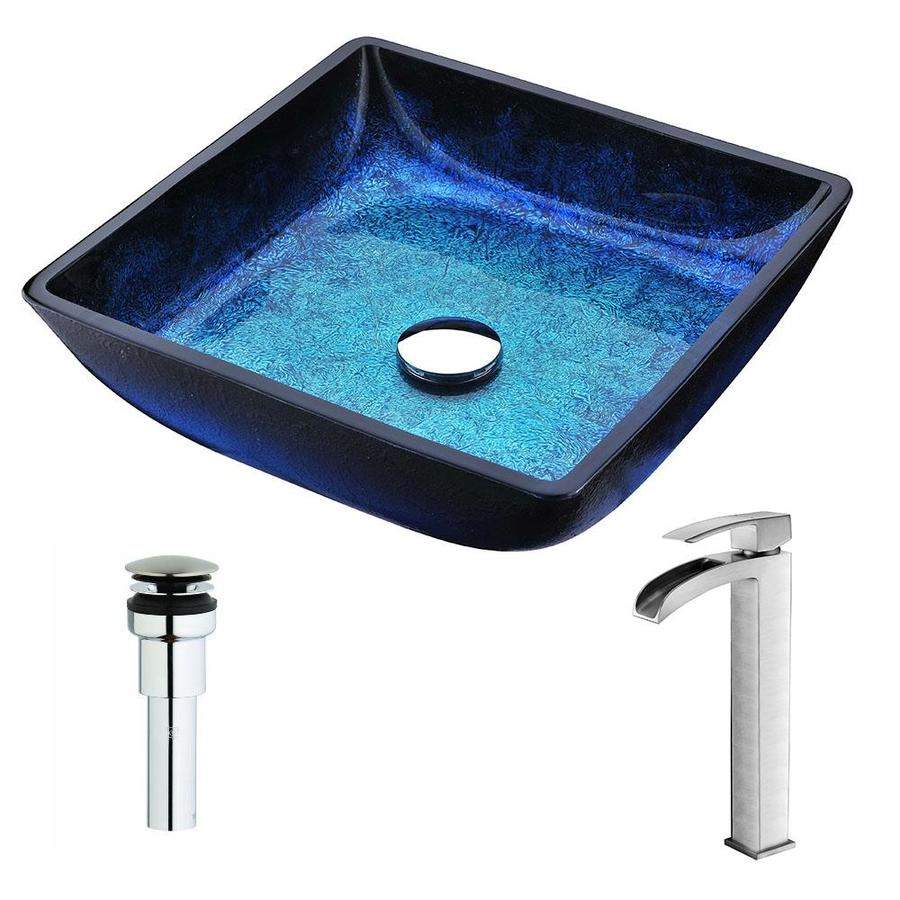 ANZZI Viace Series Blazing Blue Tempered Glass Square Vessel Bathroom Sink with Faucet (Drain Included)