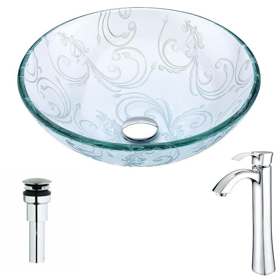 ANZZI Vieno Series Clear Floral Tempered Glass Round Vessel Bathroom Sink Faucet Included (Drain Included)