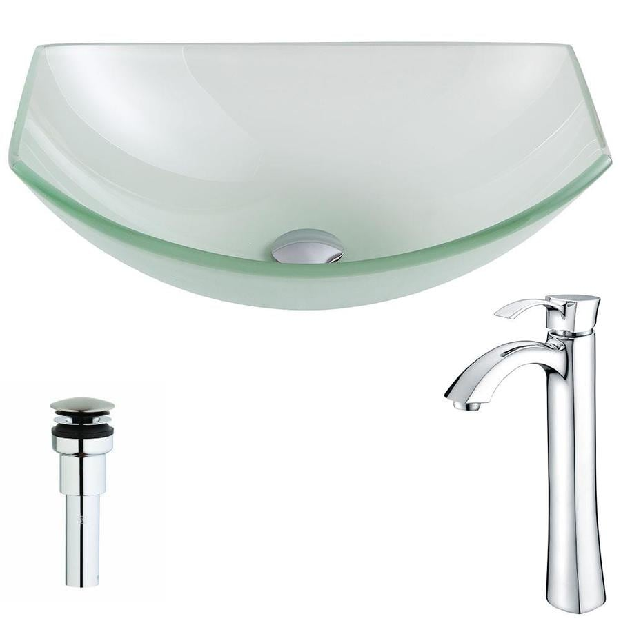 ANZZI Pendant Series Frosted Tempered Glass Oval Vessel Bathroom Sink Faucet Included (Drain Included)