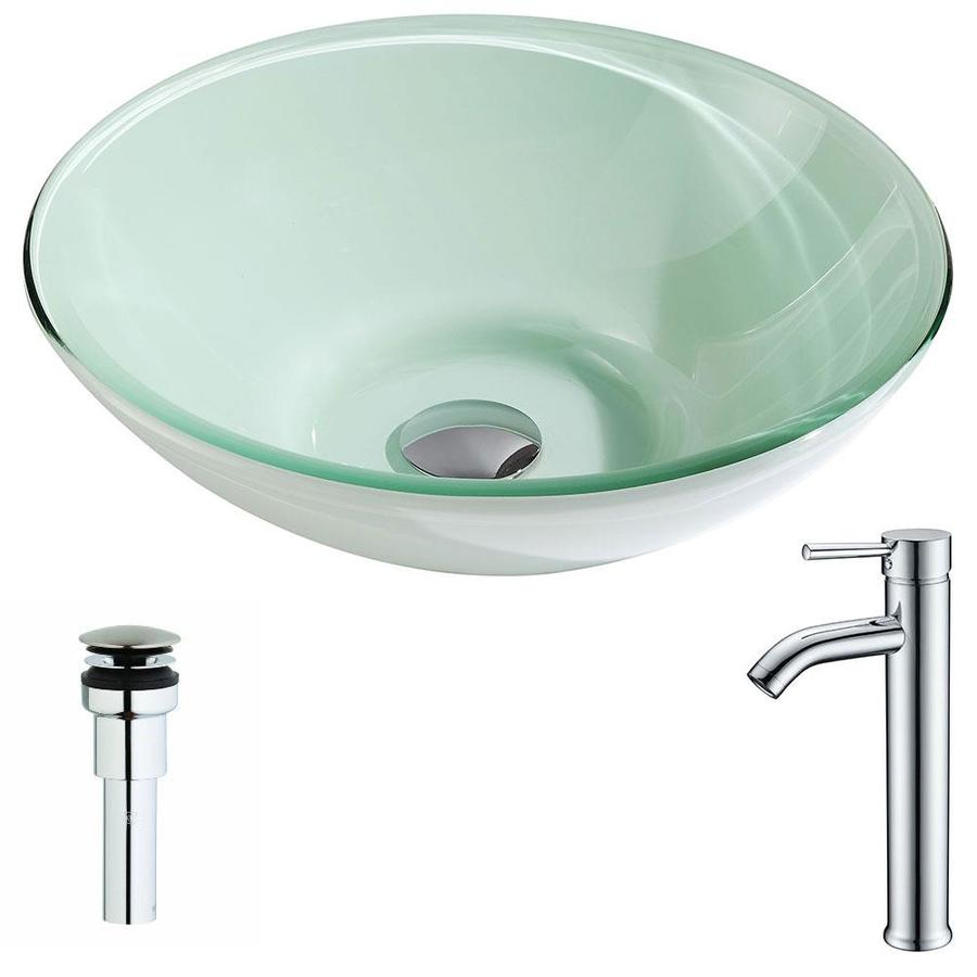 ANZZI Sonata Series Lustrous Light Green Tempered Glass Round Vessel Bathroom Sink Faucet Included (Drain Included)