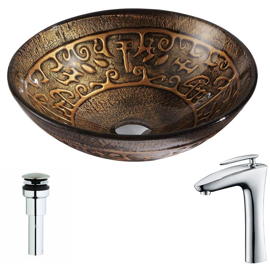 ANZZI Alto Series Lustrous Brown Tempered Glass Round Vessel Bathroom Sink Faucet Included (Drain Included)