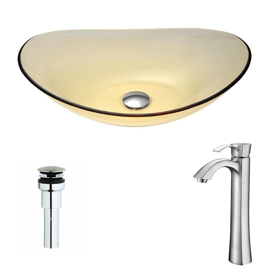 ANZZI Mesto Series Translucent Gold Tempered Glass Oval Vessel Bathroom Sink with Faucet (Drain Included)