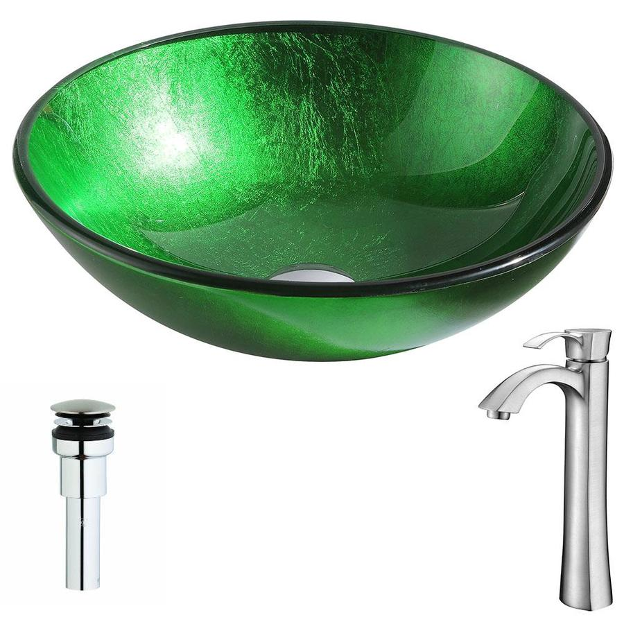 ANZZI Melody Series Lustrous Green Tempered Glass Round Vessel Bathroom Sink with Faucet (Drain Included)