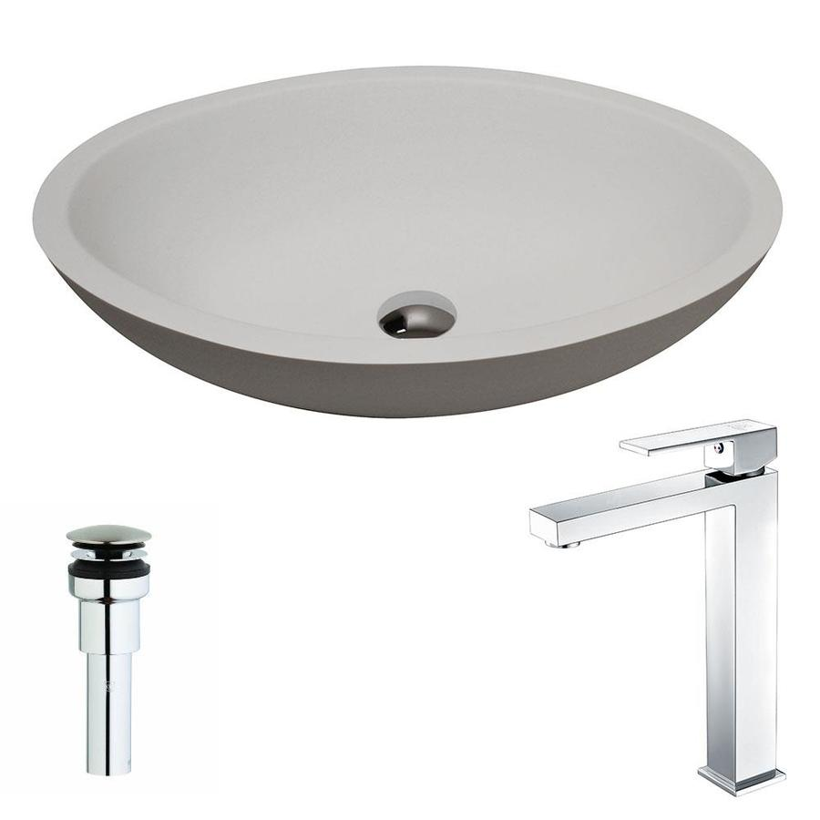 ANZZI Maine Matte White Stone Oval Vessel Bathroom Sink with Faucet (Drain Included)