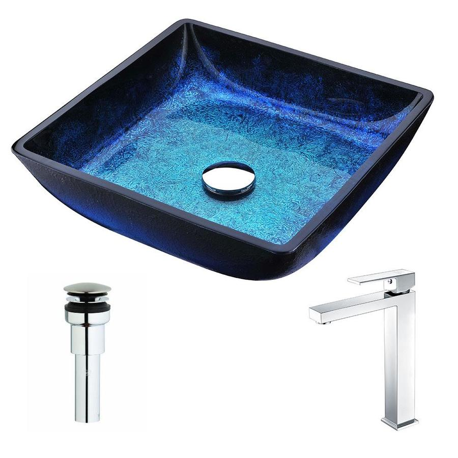 Shop ANZZI Viace Series Blazing Blue Tempered Glass Square Vessel ...