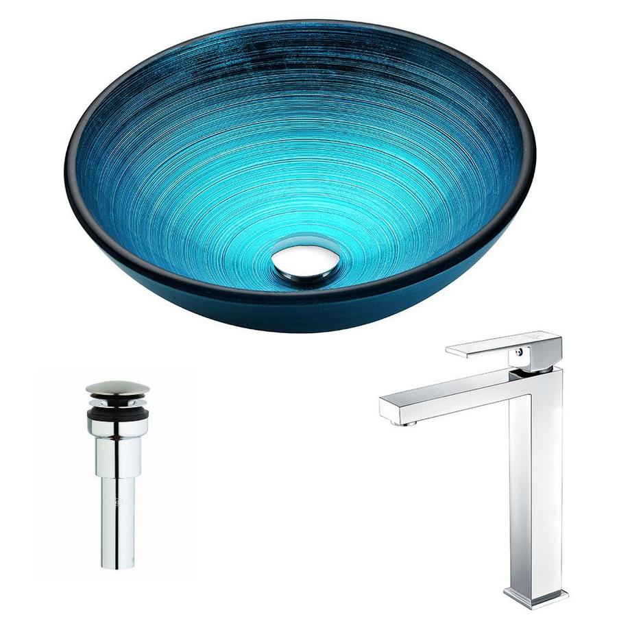 ANZZI Enti Series Lustrous Blue Tempered Glass Round Vessel Bathroom Sink with Faucet (Drain Included)