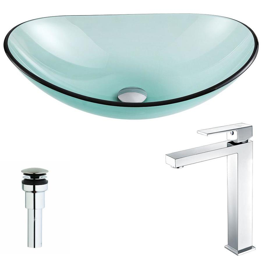 Shop Anzzi Major Series Lustrous Green Tempered Glass Oval Vessel Bathroom Sink With Faucet