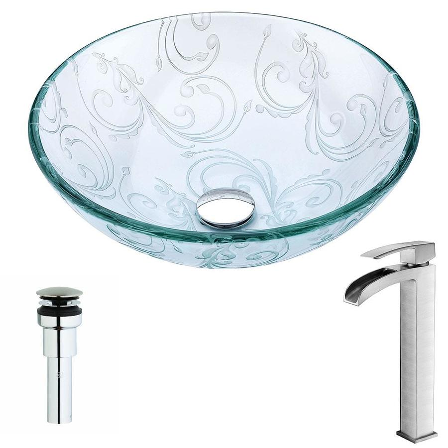 ANZZI Vieno Series Clear Floral Tempered Glass Round Vessel Bathroom Sink with Faucet (Drain Included)