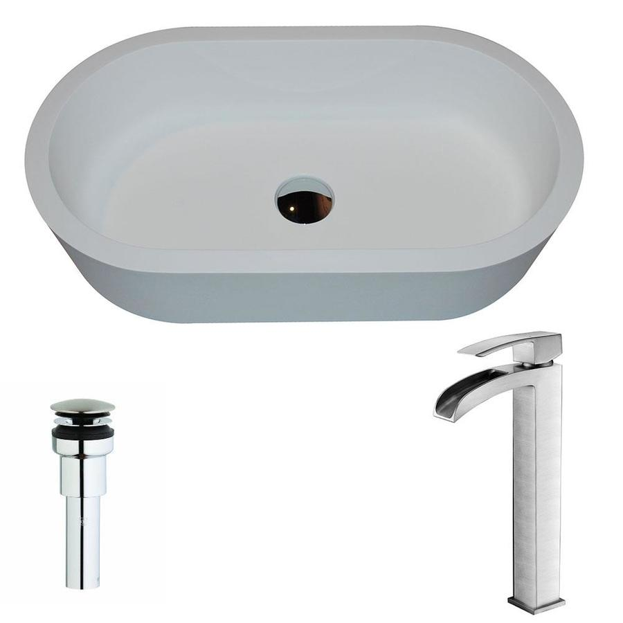 ANZZI Vaine Matte White Stone Oval Vessel Bathroom Sink with Faucet (Drain Included)