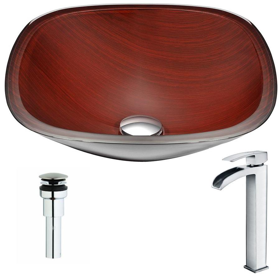 ANZZI Cansa Series Rich Timber Tempered Glass Square Vessel Bathroom Sink Faucet Included (Drain Included)