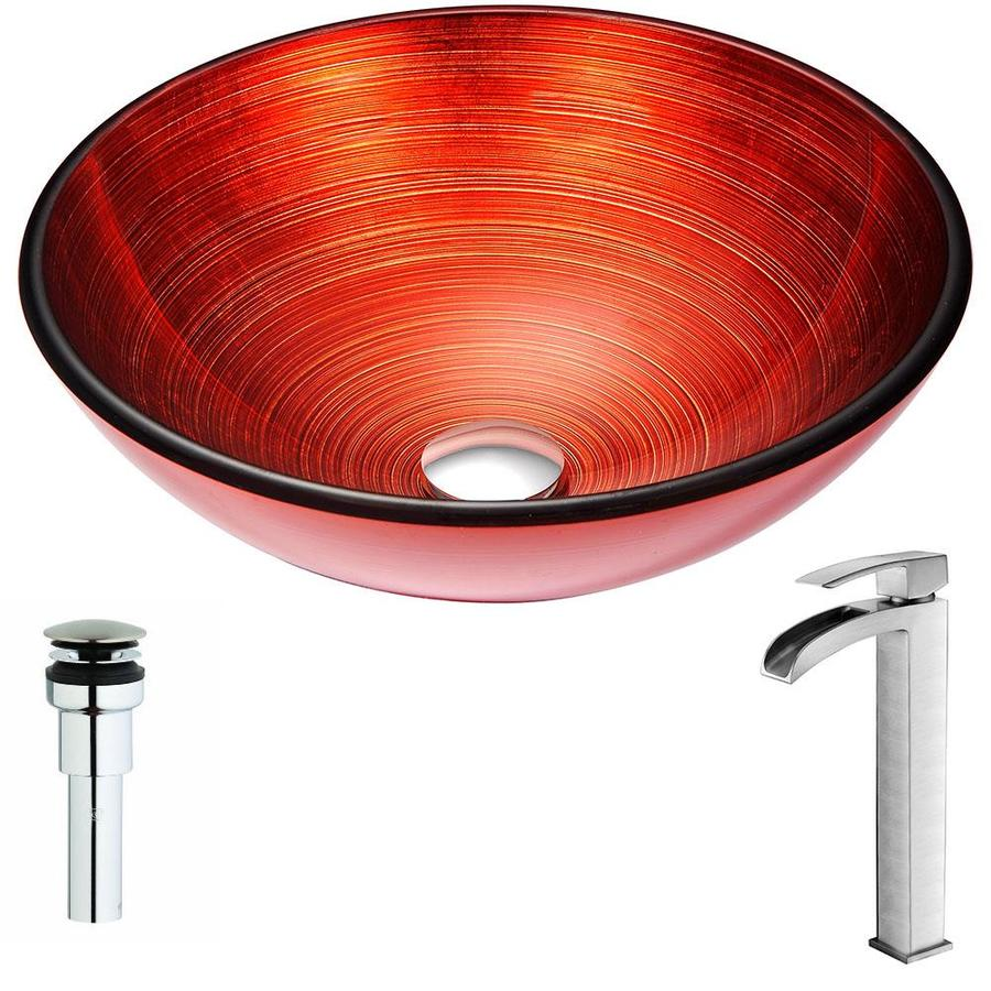 ANZZI Echo Series Lustrous Red Tempered Glass Round Vessel Bathroom Sink Faucet Included (Drain Included)