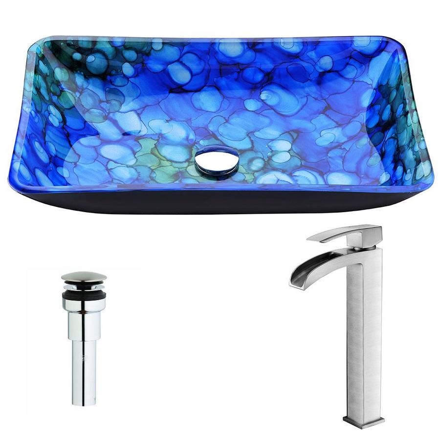 ANZZI Voce Series Lustrous Blue Tempered Glass Rectangular Vessel Bathroom Sink with Faucet (Drain Included)