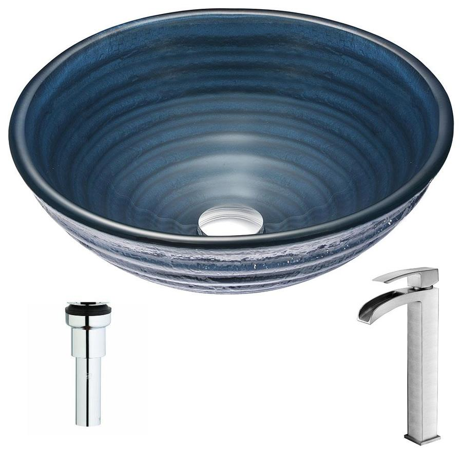 Shop Anzzi Tempo Series Coiled Blue Tempered Glass Round Vessel