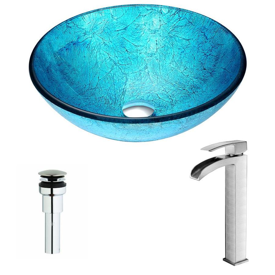 ANZZI Accent Series Ice Tempered Glass Round Vessel Bathroom Sink with Faucet (Drain Included)