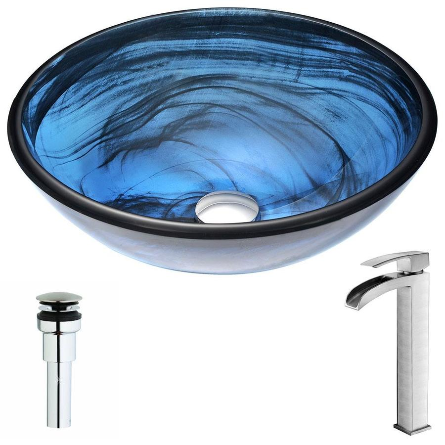 ANZZI Soave Series Sapphire Wisp Tempered Glass Round Vessel Bathroom Sink Faucet Included (Drain Included)