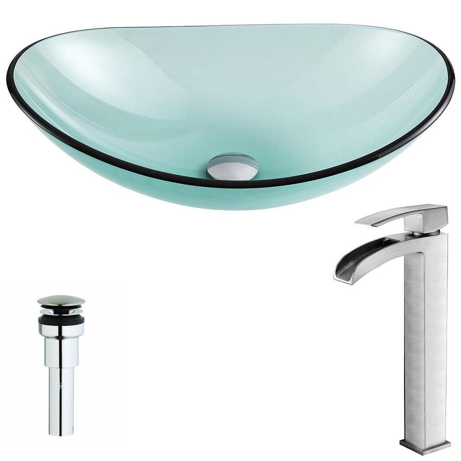 ANZZI Major Series Lustrous Green Tempered Glass Oval Vessel Bathroom Sink Faucet Included (Drain Included)