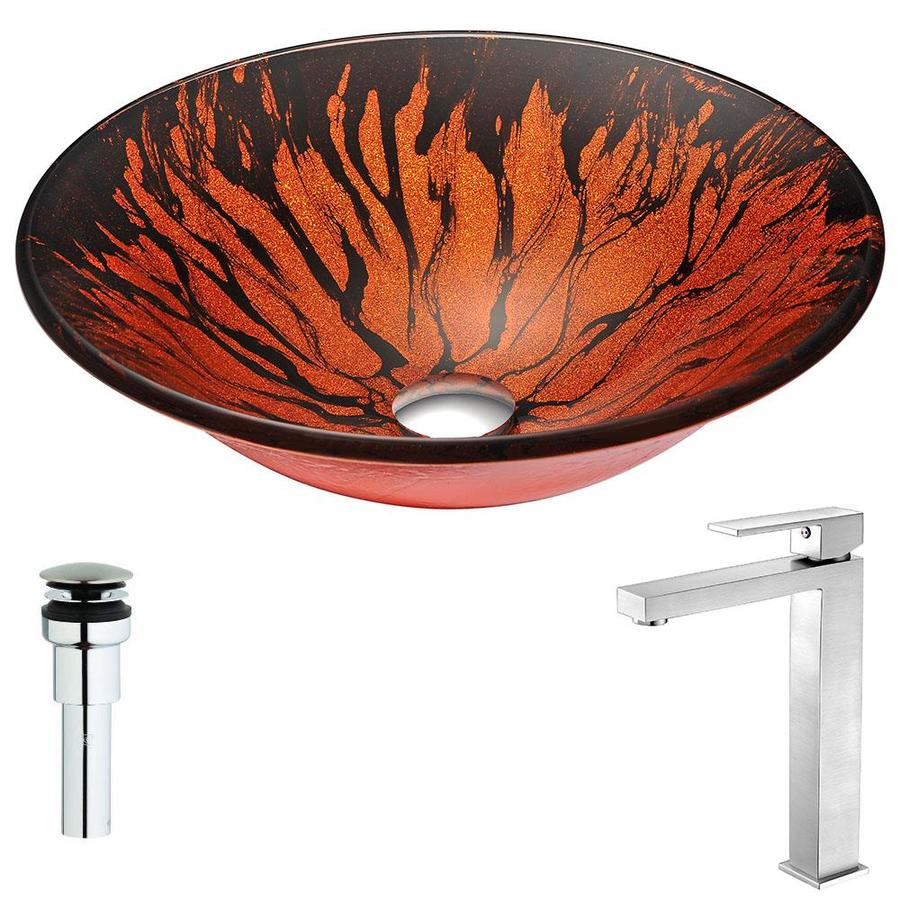 ANZZI Forte Series Lustrous Red And Black Tempered Glass Round Vessel Bathroom Sink Faucet Included (Drain Included)