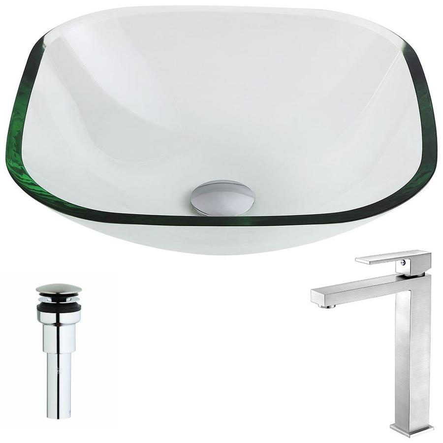 ANZZI Cadenza Series Clear Tempered Glass Square Vessel Bathroom Sink Faucet Included (Drain Included)