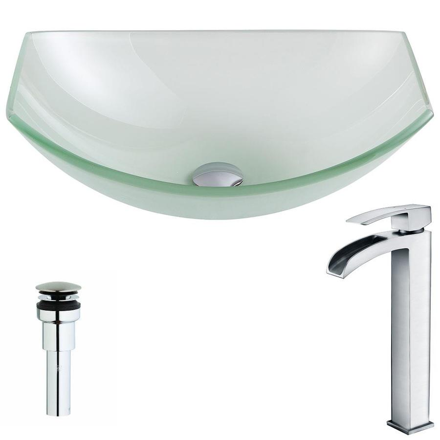ANZZI Pendant Series Frosted Tempered Glass Oval Vessel Bathroom Sink with Faucet (Drain Included)