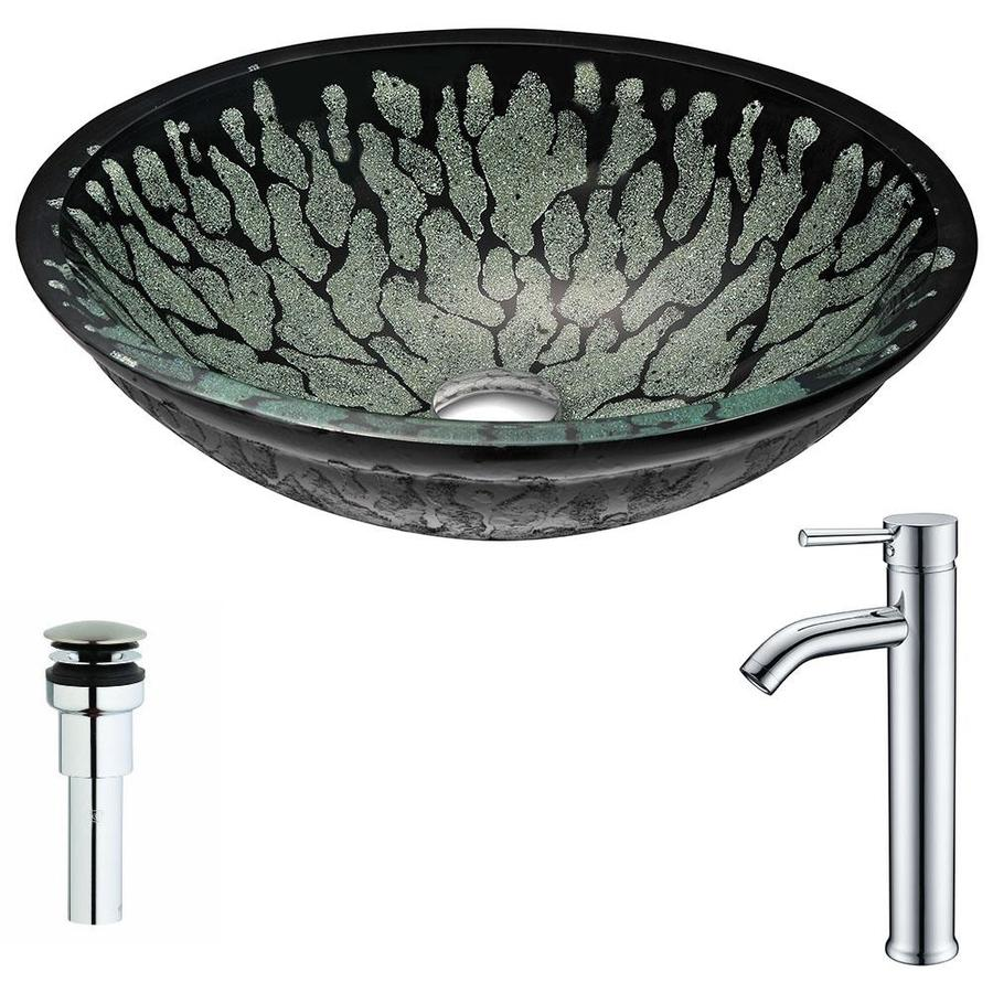 ANZZI Bravo Series Lustrous Black Tempered Glass Oval Vessel Bathroom Sink with Faucet (Drain Included)