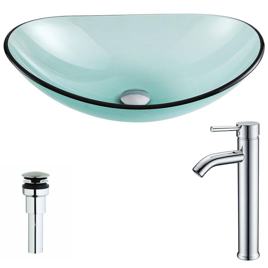 ANZZI Major Series Lustrous Green Tempered Glass Oval Vessel Bathroom Sink with Faucet (Drain Included)