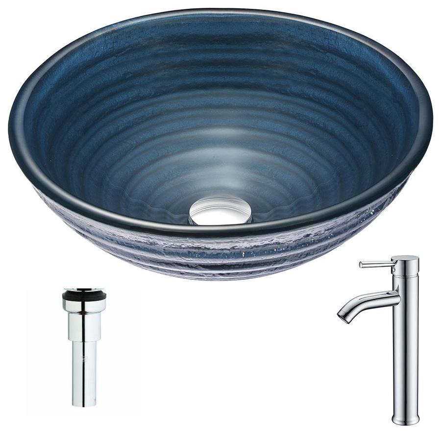 ANZZI Tempo Series Coiled Blue Tempered Glass Round Vessel Bathroom Sink Faucet Included (Drain Included)