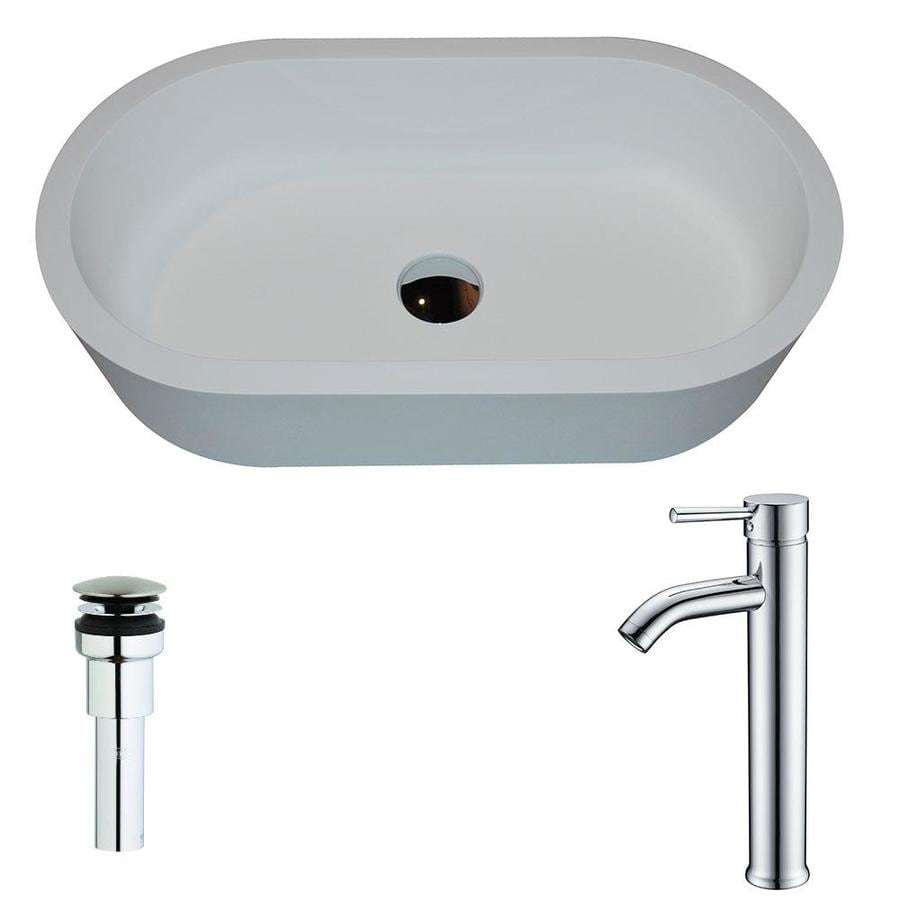 ANZZI Vaine Matte White Stone Oval Vessel Bathroom Sink Faucet Included (Drain Included)